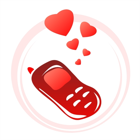 amorous: Red stylized phone and hearts on a white background. Valentines illustration.