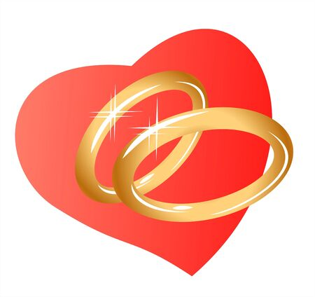 Two sparkling gold wedding rings on a background of heart. Digital illustration. Vector