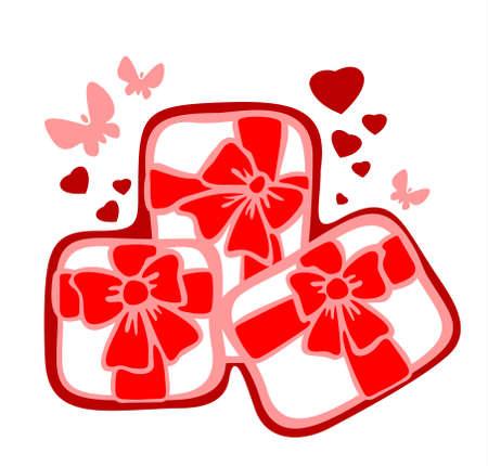 three gift boxes: Tres cajas de regalo y el coraz�n sobre un fondo blanco. San Valent�n ilustraci�n.  Vectores