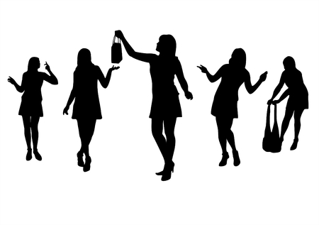 Five fashionable female silhouettes on a white background Vector