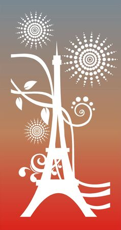 d'eiffel: White silhouette of Tour dEiffel with strips and circles on a grey-red background