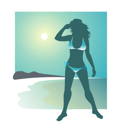 bathing suit: Dark silhouette of the girl in a bathing suit on a background of the sun and the sea.