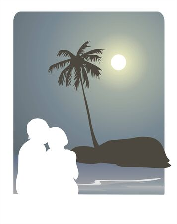 stylization: White silhouette of enamored pair on a background of the night sky, the sea, a palm tree and rock. Illustration