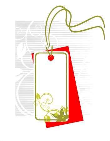 outset: Red-white decorative label with a green ornament on a white striped background. Illustration