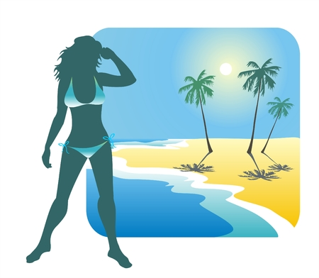 bathing suit: Dark silhouette of the girl in a bathing suit on a background of a beach, the sea and palm trees.