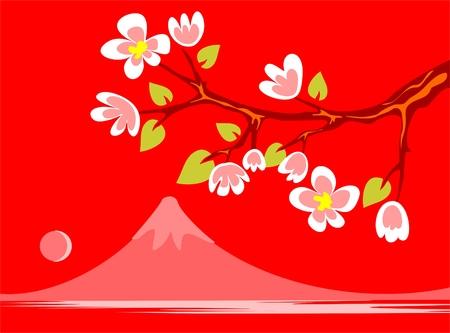 꽃이 만발한: Branch of a blossoming Oriental cherry with a silhouette of Fujiyama on a red background. 일러스트