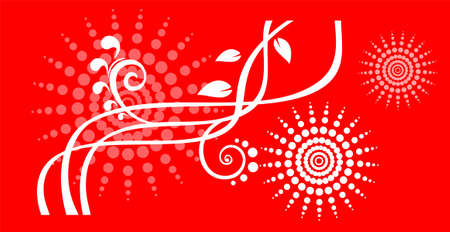 simplify: White strips and curls with leaves and the stylized flowers on a red background.