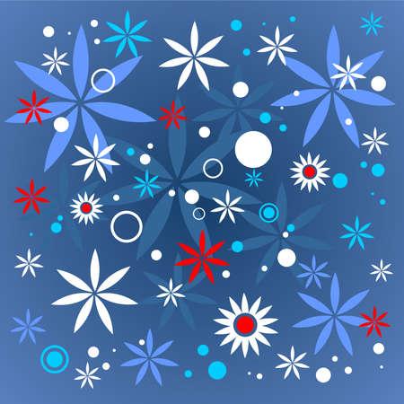 Ornate flower pattern on a dark blue background. Digital illustration. Vector
