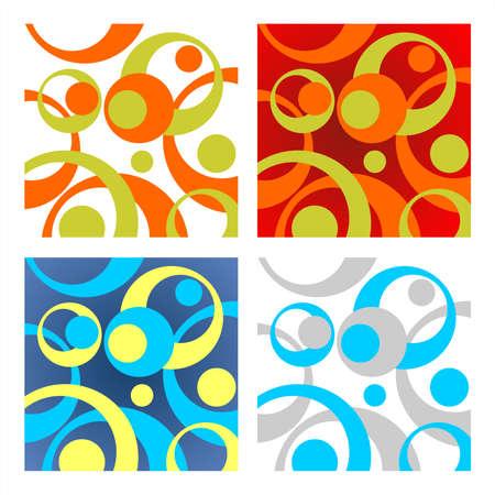 vereenvoudigen: Vier abstracte cirkels achtergronden in verschillende kleuren schaal. Digitale illustratie. Stock Illustratie