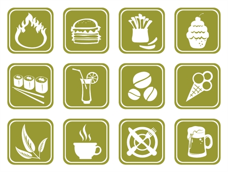 Twelve ornate food symbols on a green background. Vector