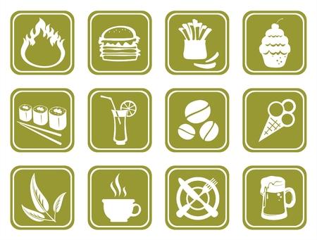 Twelve ornate food symbols on a green background.