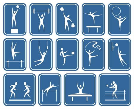 White symbolical images of various kinds of sports on a dark blue background.