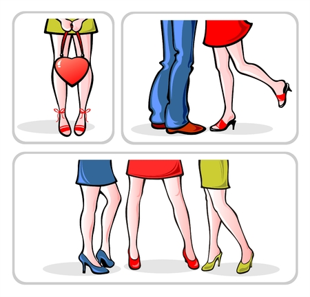 expected: Three groups of people in different situations: the lonely girl, enamored pair also three girlfriends.