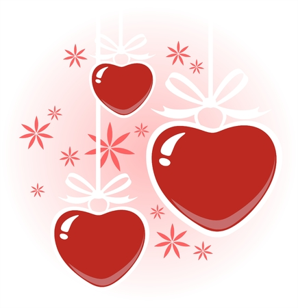 stylization: Three stylized hearts on a white background with flowers. Valentines illustration.