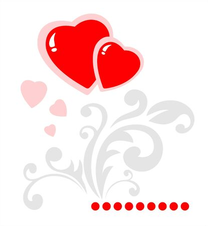 stylization: Two hearts and gray gentle pattern on a white background. Valentines illustration. Illustration