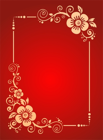 stylization: The frame from pink decorative strips on a red background. Illustration
