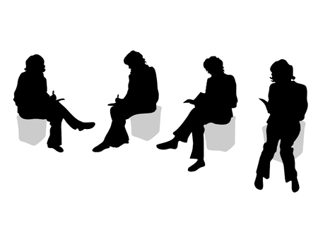 sitting on: Four black silhouettes of sitting women on a white background. Illustration