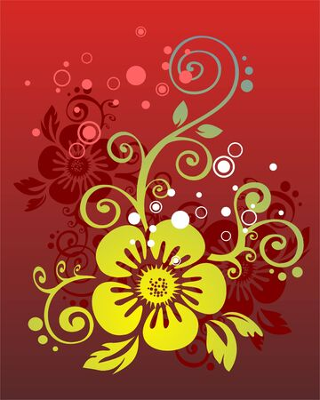 The green-dark blue stylized flower on a red background. Vector