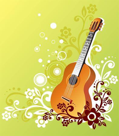 Guitarra sobre un fondo verde con blanco y marrón ornamento vegetal.  Ilustración de vector