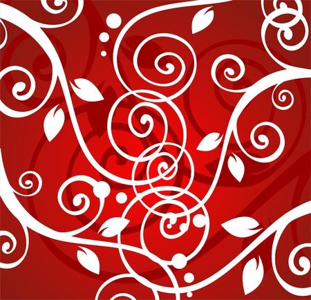 vereenvoudigen: Witte spiraal vegetatief patroon op een rode achtergrond.