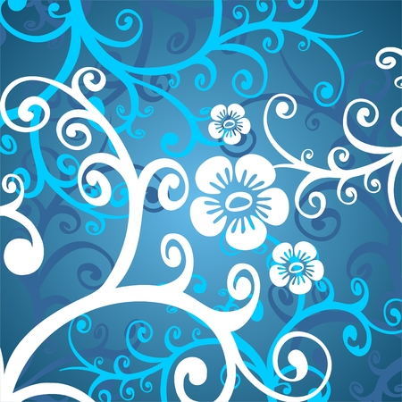 Fragments of the white stylized flowers on a dark blue background. Vector