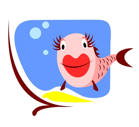 The amusing smiling stylized small fish in an aquarium. Illustration
