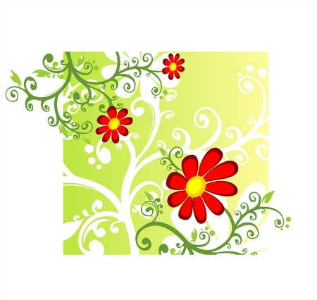 Red decorative flowers on a yellow-green background. Stock Vector - 2467530