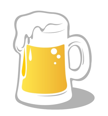 droughts: Ornate beer mug isolated on a white background. Digital illustration.