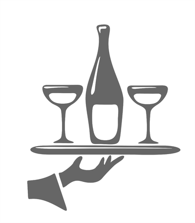 party tray: Bottle of a champagne and glasses on a tray. Digital illustration.