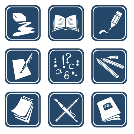 Nine symbols of reading and the letter on a dark blue background. Illustration