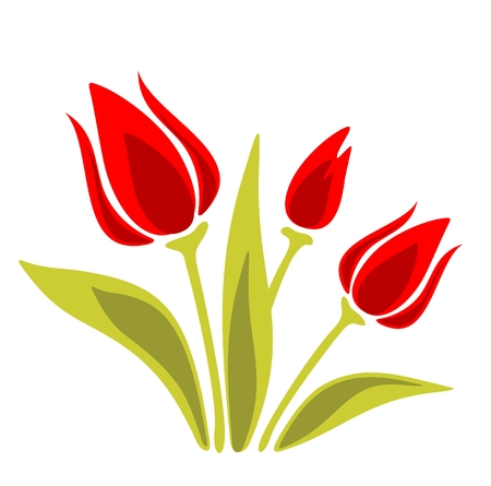 Stylized red tulips on a  white background. Digital illustration. Stock Vector - 2490836