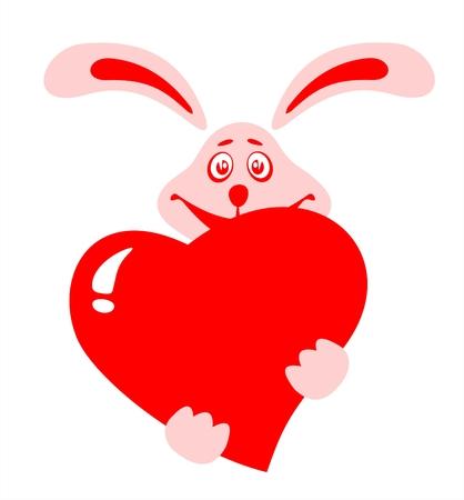 Stylized rabbit with heart  on a white background. Valentines illustration. Illustration