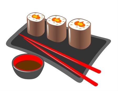 sushi: Plaat uit een Japans rollen, eetstokjes en soja saus op een witte achtergrond.