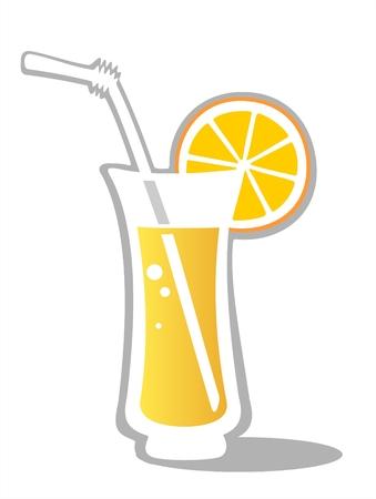verre de jus: Jus d'orange en verre isol� sur un fond blanc. Illustration