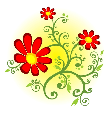 Red flowers with curls on a yellow-white background. Vector