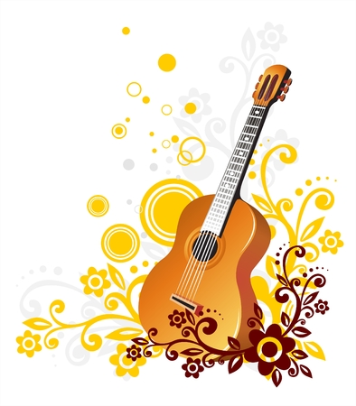 guitar background: Guitar on a white background with a yellow and brown pattern with circles. Illustration