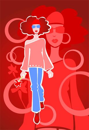 The girl with a flower in a hand on a red background with circles and a shadow. Vector