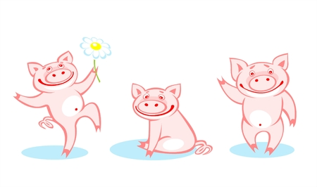 Three amusing pink pigs on a white background. Vector