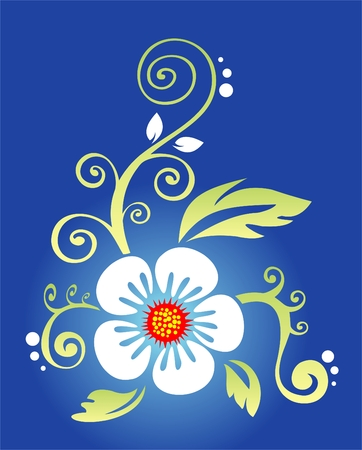 White flower with leaves and curls on a dark blue background. Stock Vector - 2506078