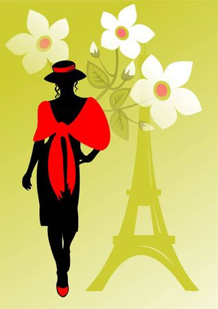 d'eiffel: Black silhouette of the girl in a red palatine and a hat on a background of Tour dEiffel. Stock Photo
