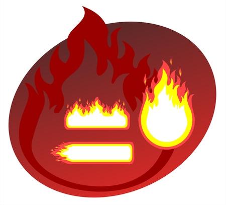 claret red: La quema de tres cuadros sobre un fondo rojo.