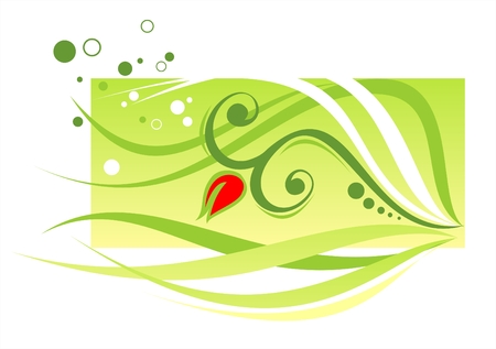 simplify: Red flower with long leaves on a green background with circles Illustration