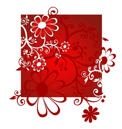 simplify: Red decorative flowers on a red-white background.