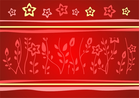 Red silhouettes of flowers on a red background with strips. Stock Vector - 2506072