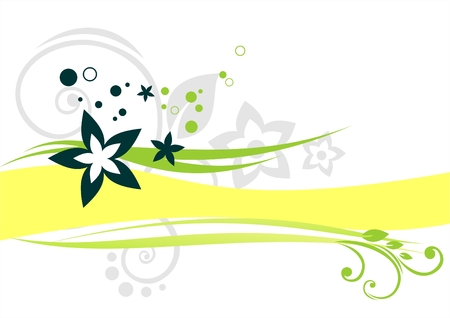 Green vegetative ornament with a yellow strip on a white background. Stock Vector - 2506056