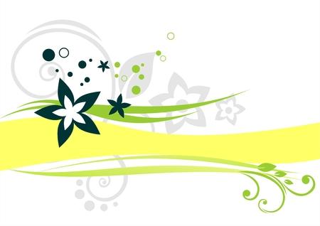 vereenvoudigen: Groene vegetatief ornament met een gele strip op een witte achtergrond.
