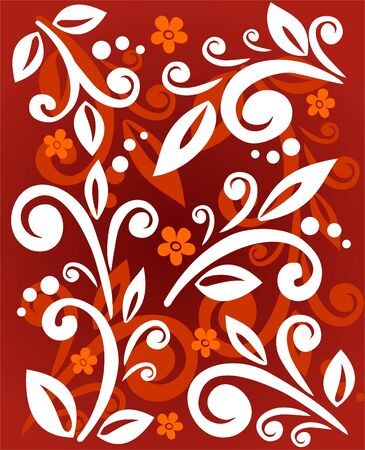 White vegetative ornament with flowers on a red background. Vector