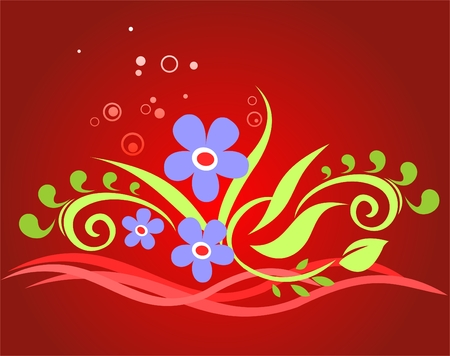 simplify: Dark blue flowers on a red background with circles and strips.