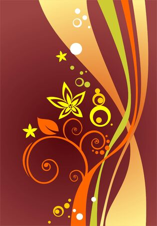 claret: Abstract background from yellow and green curves and flowers. Illustration