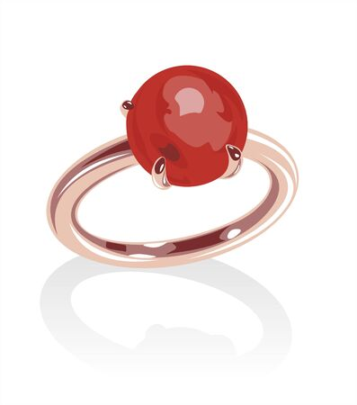 gold ring: Ornate gold ring with red bead on a white background.